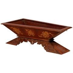 Vintage Burmese Prayer Book Holder with Unusual Shape and Carved Pedestal Base