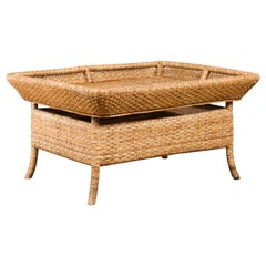 Vintage Burmese Rattan and Bamboo Coffee Table with Tray Top and Splaying Legs
