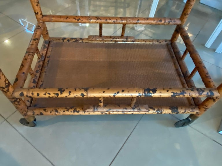 Vintage Burnt Bamboo Bar Cart Double Shelf Mirror 1