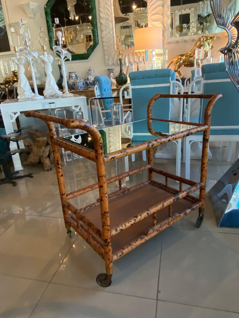 Vintage Burnt Bamboo Bar Cart Double Shelf Mirror 2