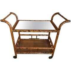 Vintage Burnt Bamboo Bar Cart Double Shelf Mirror
