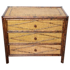 Vintage Burnt Bamboo Three-Drawer Chest