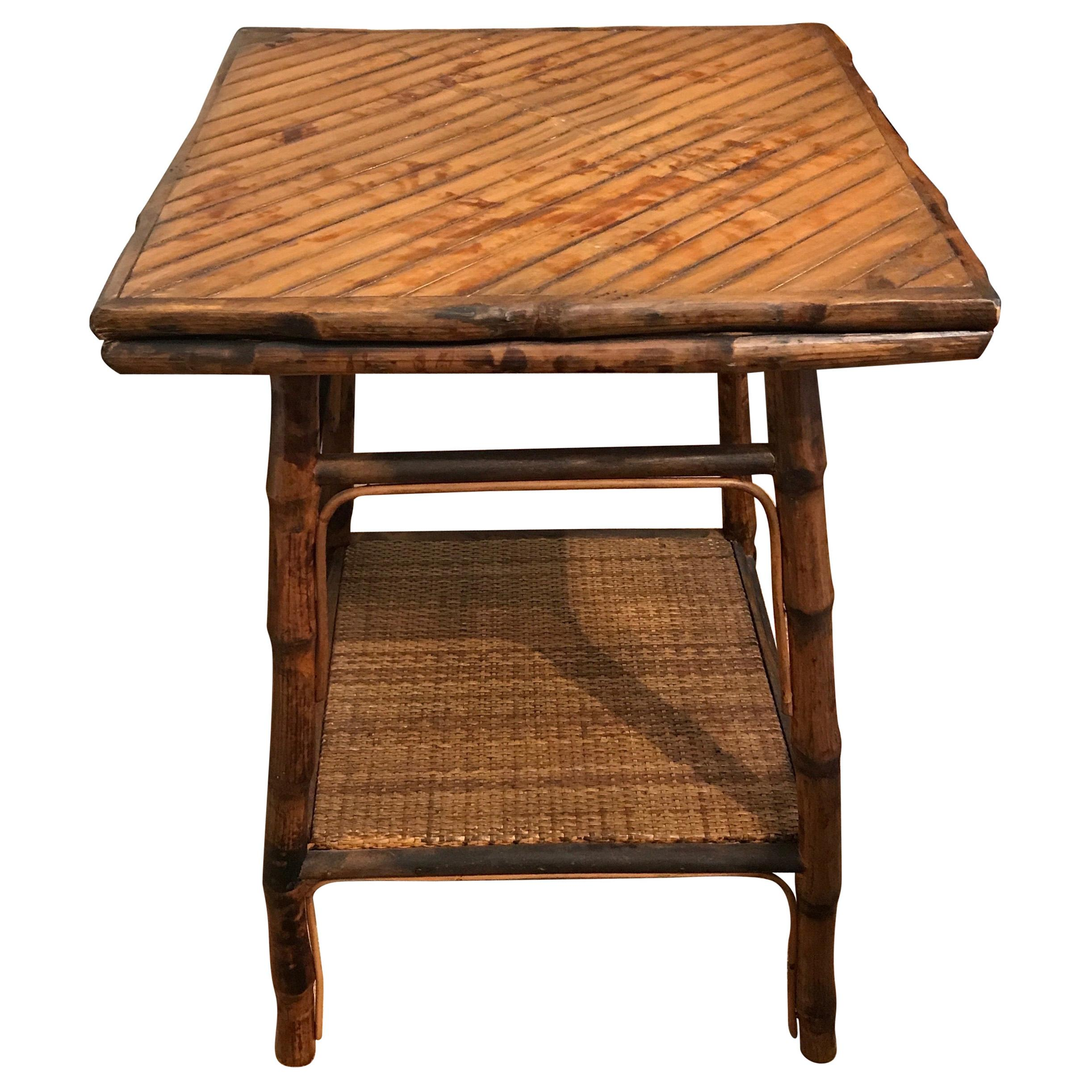 Vintage Burnt Bamboo Two-Tiered Table