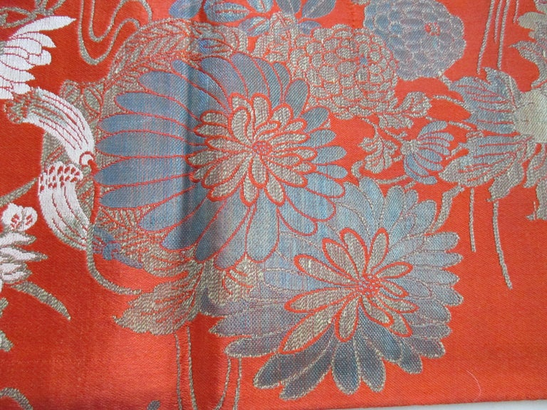 Vintage burnt orange floral silk textile with chrysanthemums and lilies. Ideal for pillows and upholstery. Size: 19.5