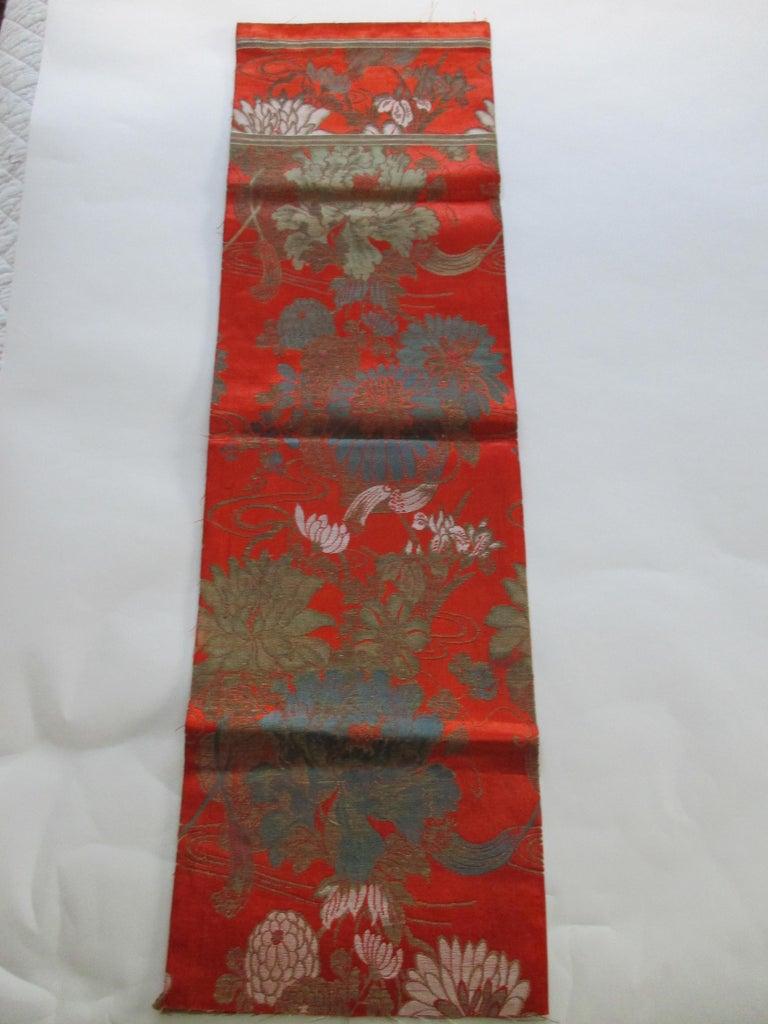 Japonisme Vintage Burnt Orange Floral Silk Textile with Chrysanthemums and Lilies  For Sale