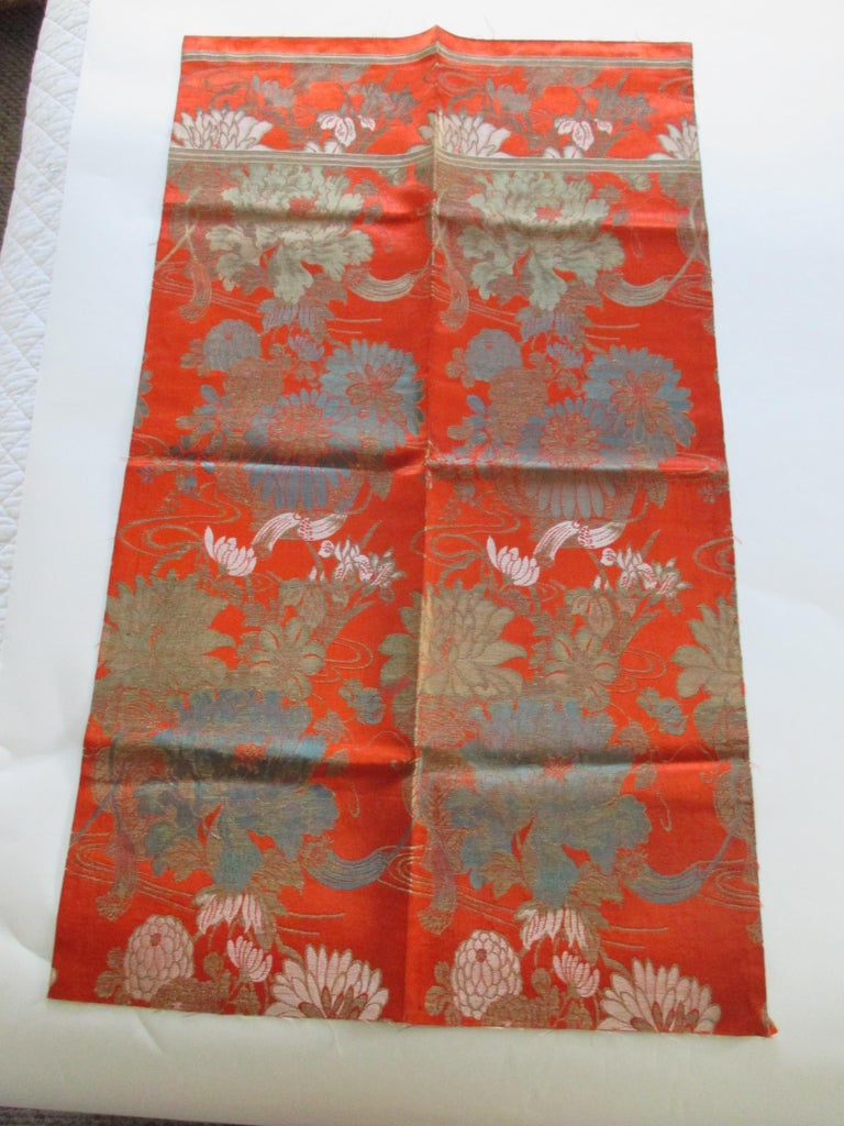 Japanese Vintage Burnt Orange Floral Silk Textile with Chrysanthemums and Lilies  For Sale