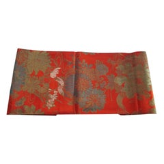 Vintage Burnt Orange Floral Silk Textile with Chrysanthemums and Lilies