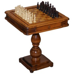 Vintage Burr, Burl and Natural Walnut Chess Table with Single Drawer and Pieces