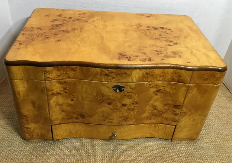 Unknown Vintage Burr Elm Humidor with Fitted Interior