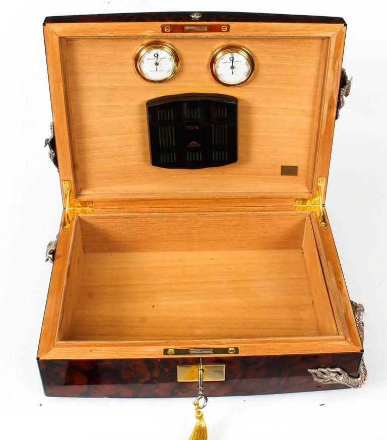 Vintage Burr Walnut Cigar Humidor by Simpson Le Queux, 20th Century 14