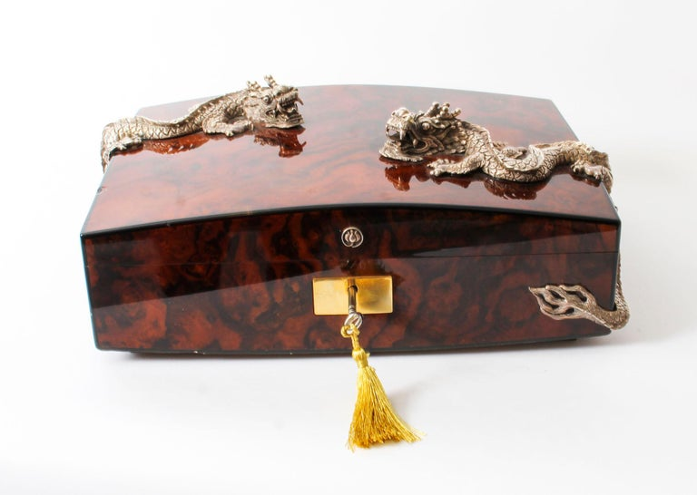 Vintage Burr Walnut Cigar Humidor by Simpson Le Queux, 20th Century In Good Condition In London, GB