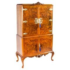Vintage Burr Walnut Cocktail Drinks Dry Bar Cabinet & Glassware Mid 20th C