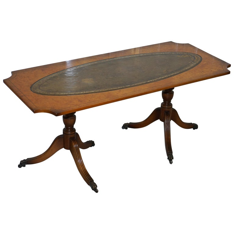 Vintage Burr Walnut Coffee Table With Green Distressed