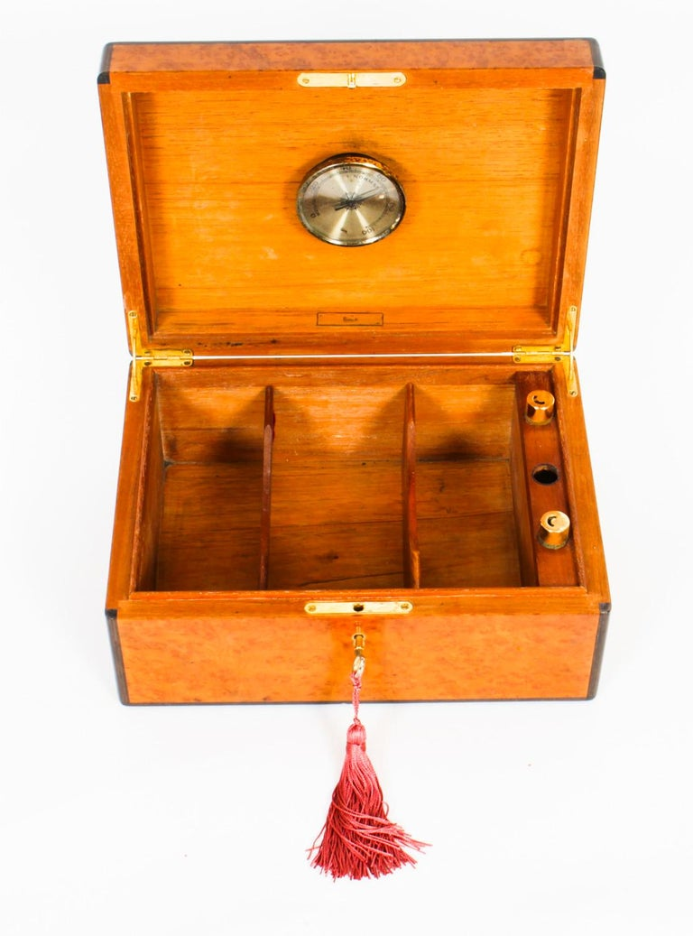 English Vintage Burr Walnut Humidor Harrods Mid 20th Century