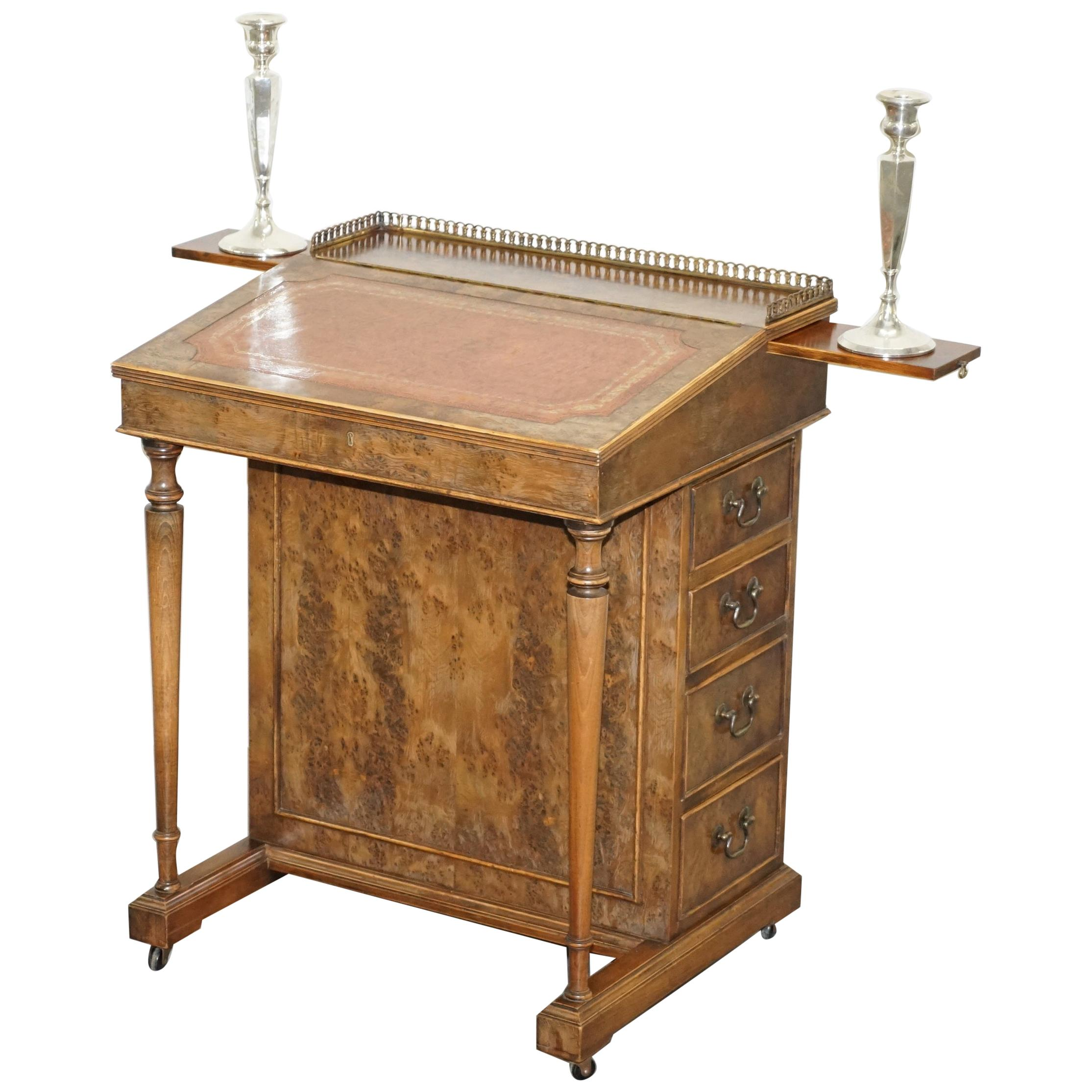 Vintage Burr Walnut, Leather and Brass Gallery Rail Davenport Desk Workstation
