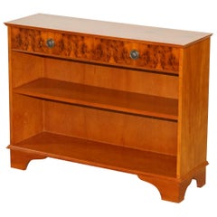 Vintage Burr Yew Wood Beresford & Hicks Two Drawer Open Dwarf Library Bookcase