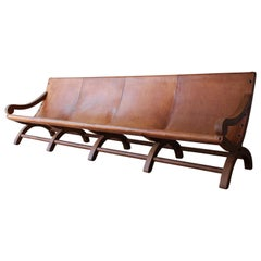Vintage Butaque Mexican Leather Sling Sofa