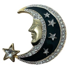 Vintage Butler and Wilson Enamel Crescent Moon and Stars Brooch Pin
