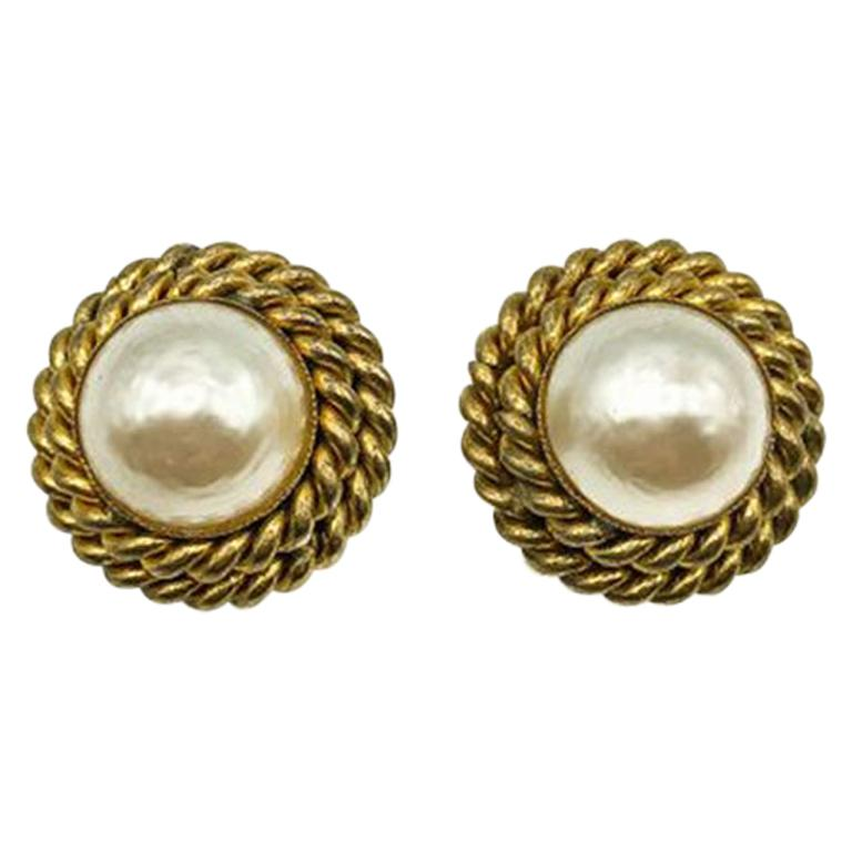 Vintage Butler and Wilson Gold & Pearl Rope Twist Earrings 1980s For Sale