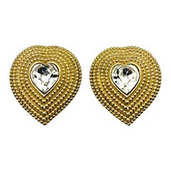 Vintage Butler & Wilson Gold & Crystal Heart Earrings 1980s