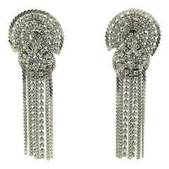 Vintage Butler & Wilson London Crystal Love Knot &Chain Statement Earrings 1980s