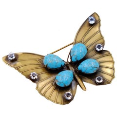 Vintage Butterfly Brooch Joseff of Hollywood Faux Turquoise 1950s