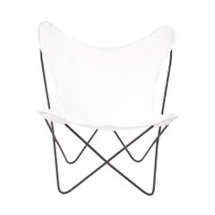 Vintage Butterfly Chair in White Fabric with Metal Frame