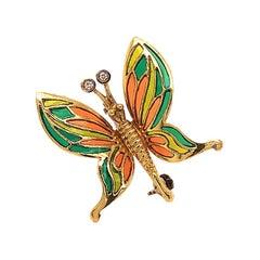Vintage Butterfly Enamel and Diamond Brooch in 18 Karat Yellow Gold