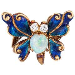 Vintage Butterfly Ring Opal Diamond Blue Enamel Wings 14 Karat Gold Jewelry