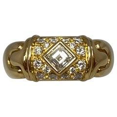 Vintage Bvlgari Bulgari Parentesi Square and Round Diamond 18k Yellow Gold Ring