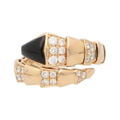 Vintage Bvlgari Diamond and Onyx Serpenti Viper Ring Set in 18k Rose Gold