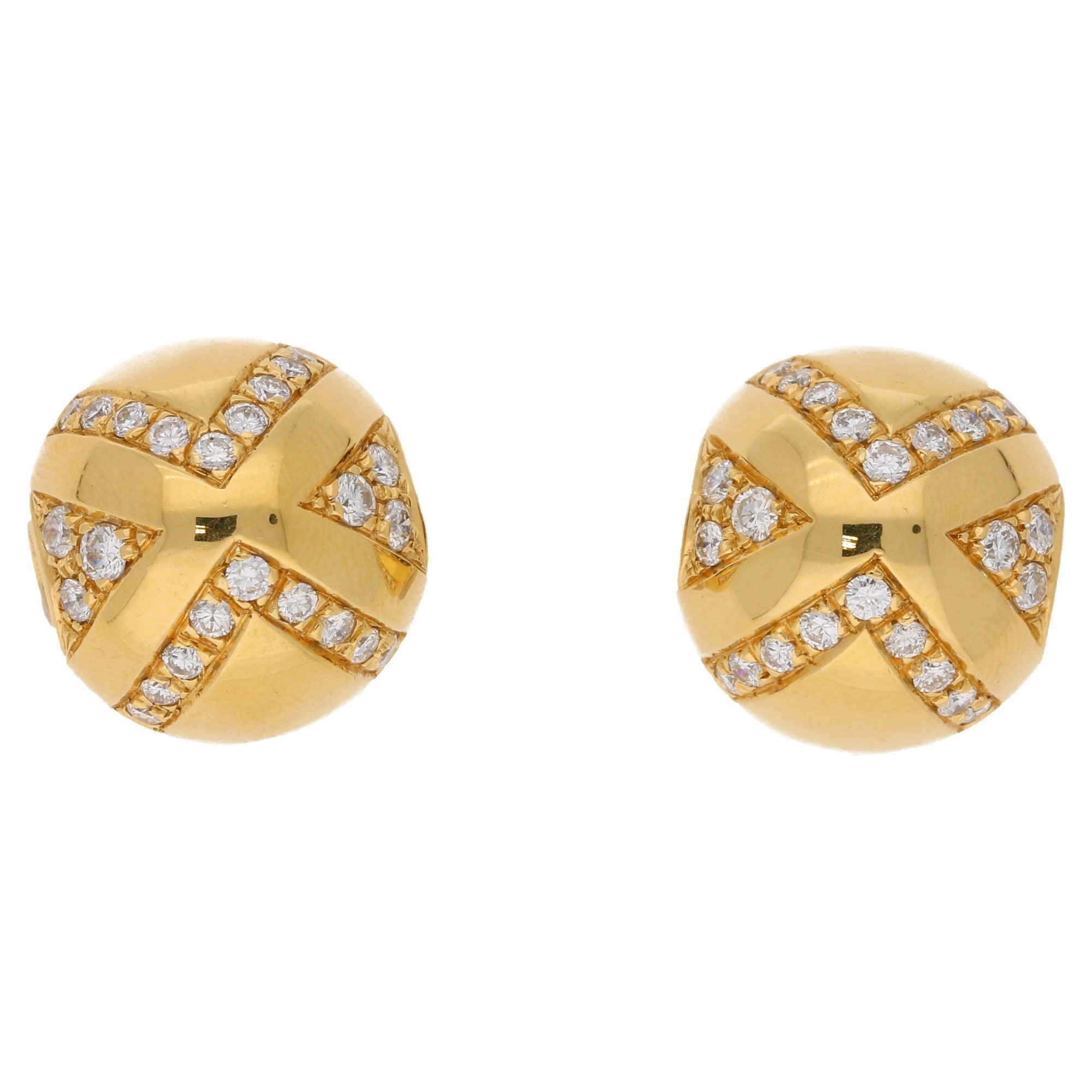 Bvlgari Diamond Ball Clip On Earring Set in Yellow Gold