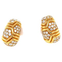Vintage Bvlgari Diamond Gold Earrings