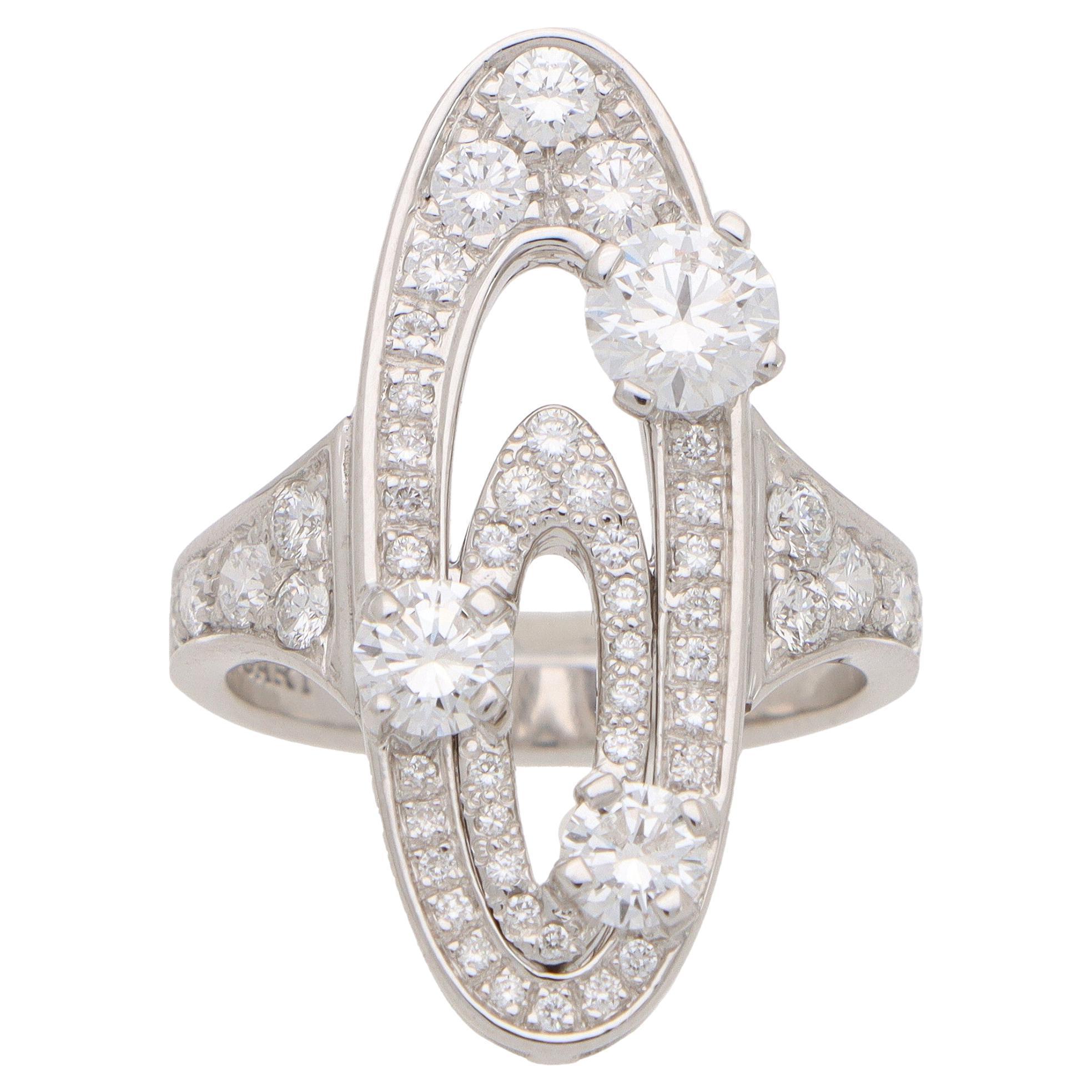 Vintage Bvlgari Elisia Diamond Cocktail Ring Set in 18k White Gold