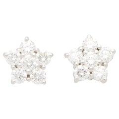 Vintage Bvlgari Floral Cluster Stud Earrings Set in 18k White Gold