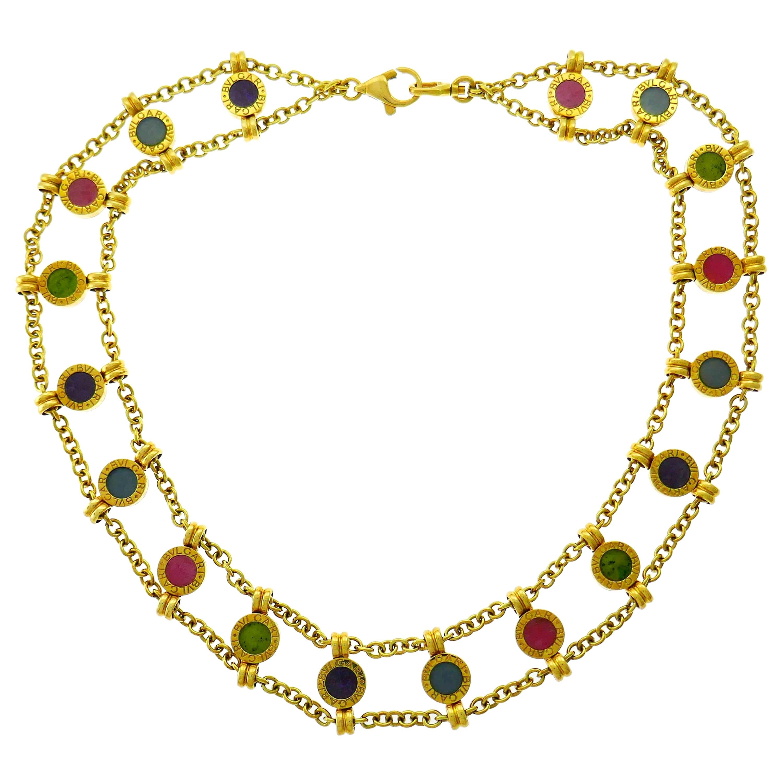 Vintage Bvlgari Gems Yellow Gold Necklace Bulgari