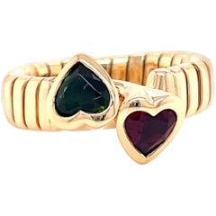 Vintage Bvlgari Heart Cut Tourmaline 18 Karat Gold Tubogas Ring