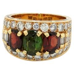 Vintage Bvlgari Heavy 18k Yg 5.50ct VS1/F Diamond & Tourmaline Ring