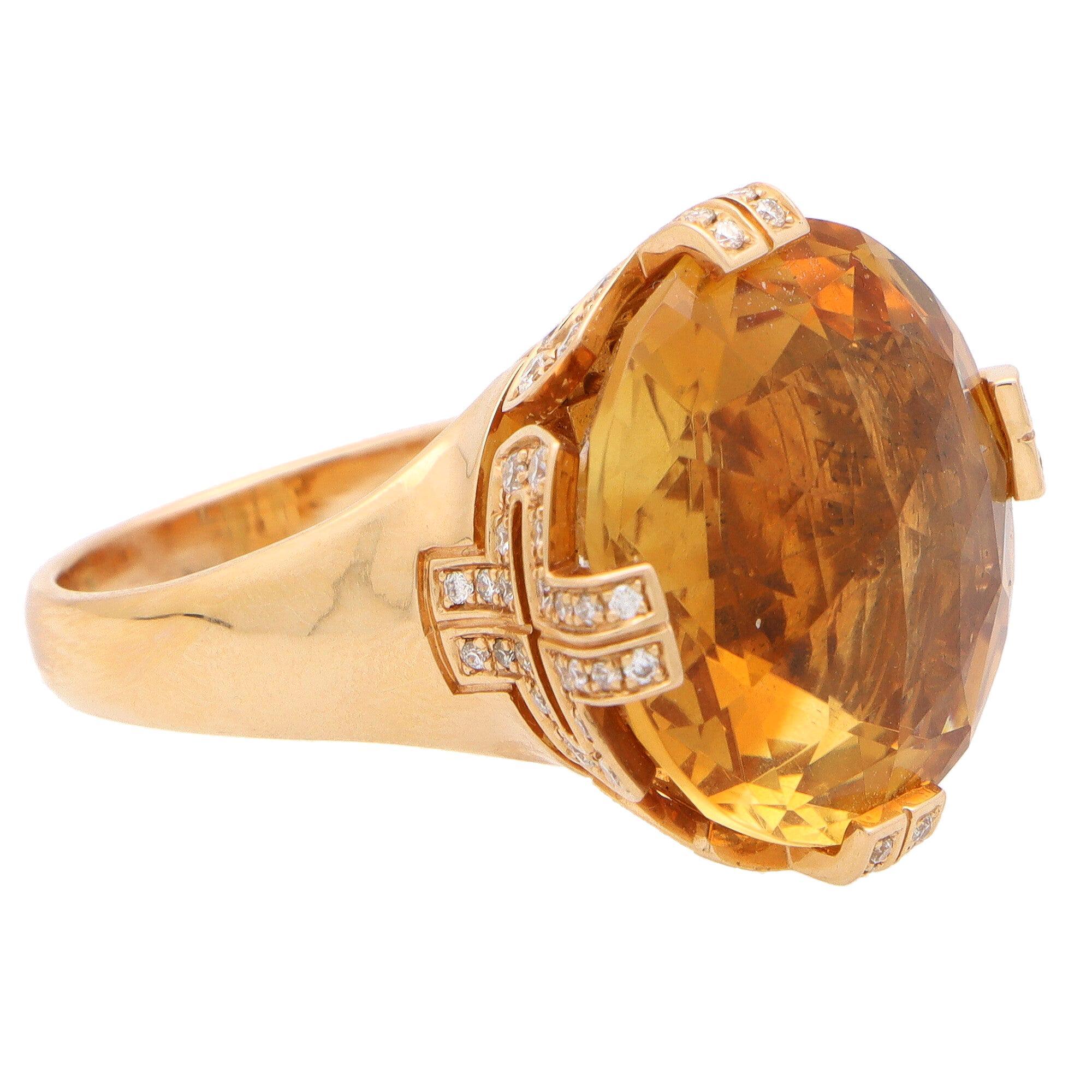 Vintage Bvlgari Parentesi Citrine and Diamond Cocktail Ring Set in 18k Rose Gold