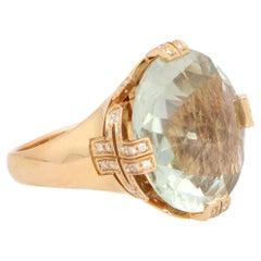 Vintage Bvlgari Parentesi Green Quartz and Diamond Cocktail Ring in Rose Gold