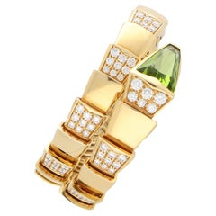 Vintage Bvlgari Peridot and Diamond Serpenti Bracelet in 18k Yellow Gold