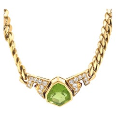 Vintage Bvlgari Peridot Ruby Gold Necklace