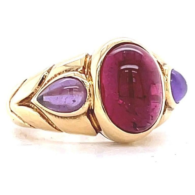 Cabochon Vintage Bvlgari Ruby Amethyst Gold Ring