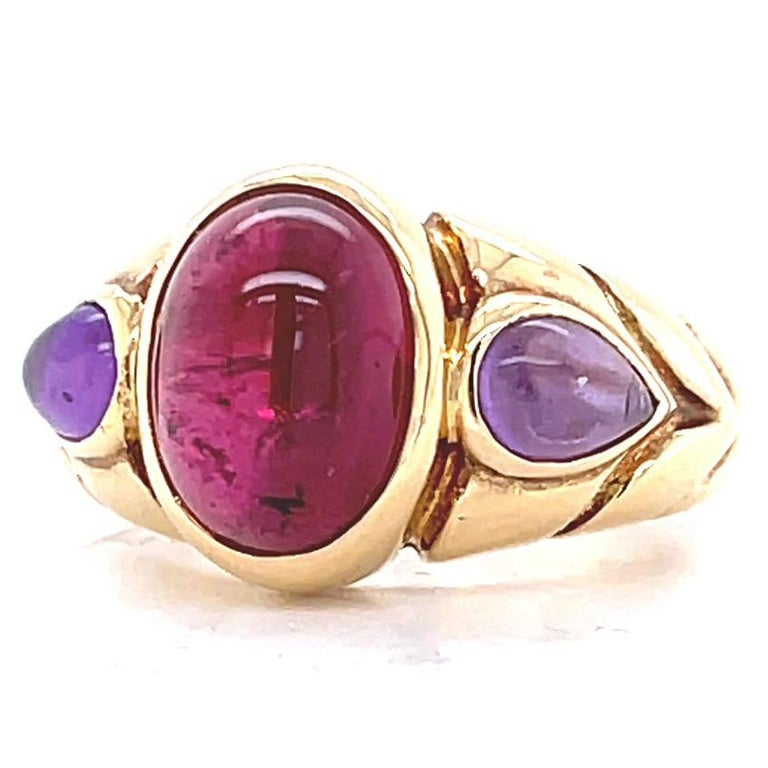 Vintage Bvlgari Ruby Amethyst Gold Ring In Excellent Condition In Beverly Hills, CA