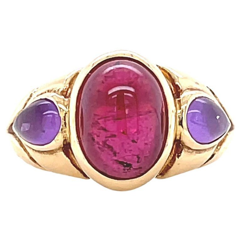 Vintage Bvlgari Ruby Amethyst Gold Ring