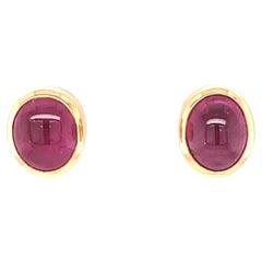 Vintage Bvlgari Ruby Gold Stud Earrings