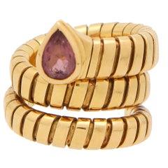 Vintage Bvlgari Tourmaline Tubogas Serpenti Coiled Snake Ring in 18k Yellow Gold