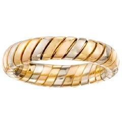 Vintage Bvlgari Tubogas 18 Karat Yellow, Rose, White Gold Tricolor Band Ring