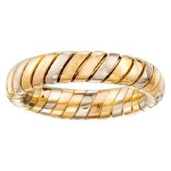 Vintage Bvlgari Tubogas 18 Karat Yellow Rose White Gold Tricolor Band Swirl Ring
