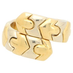 Vintage Bvlgari Tubogas Serpenti Cross-over Ring in Stainless Steel and Gold